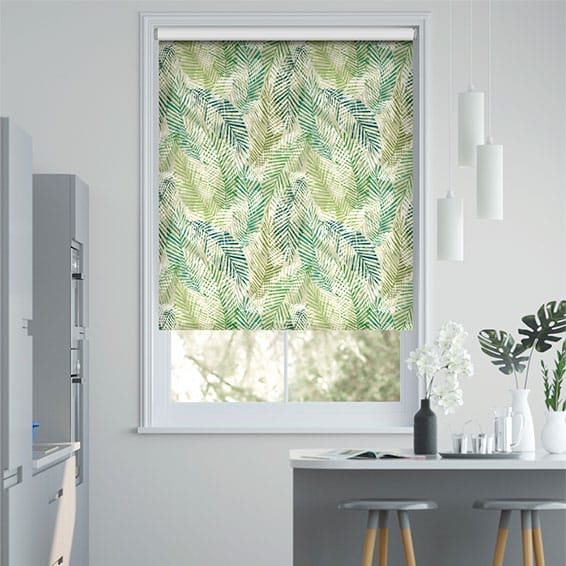 Choices Shadow Leaf Linen Green Roller Blind
