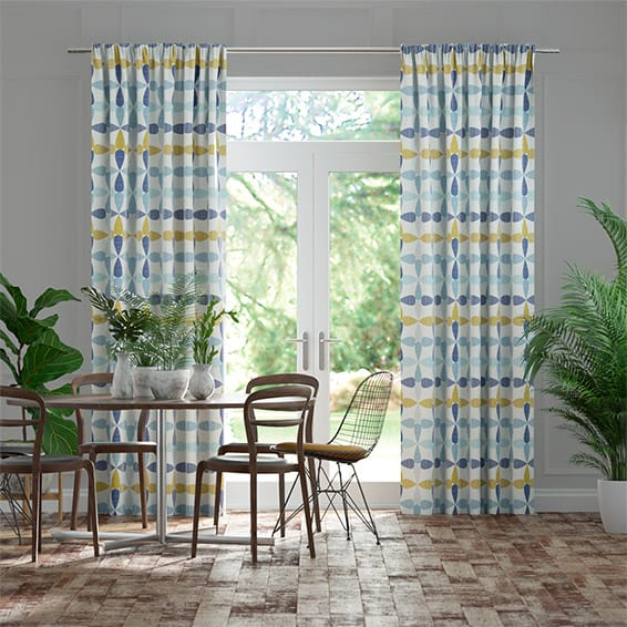 Circus Leaves Blue Curtains