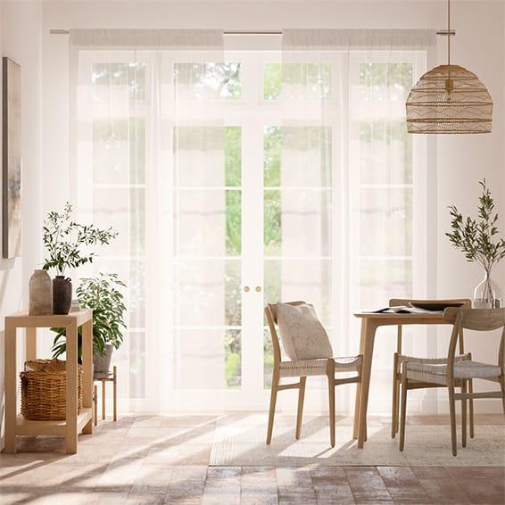 Cirrus Voile Cotton White Curtains