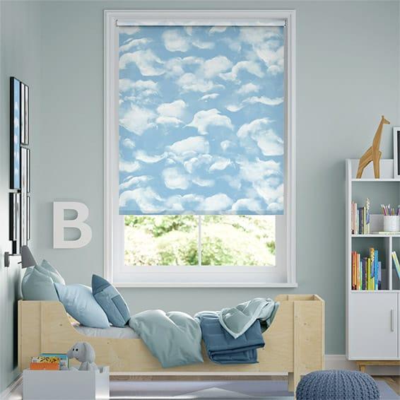 Clouds Blackout Blue Roller Blind