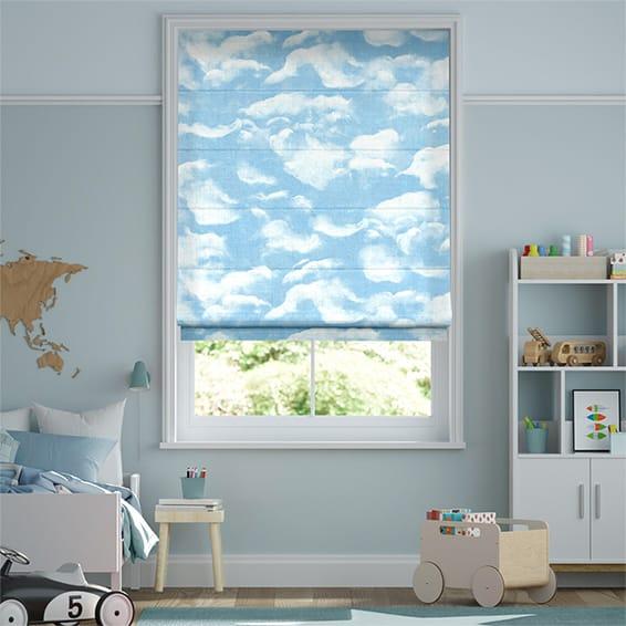 Clouds Blue Roman Blind