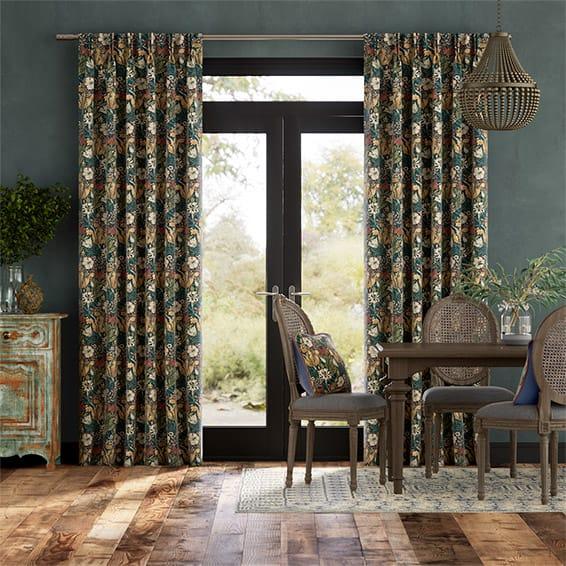 William Morris Compton Velvet Dusky Teal Curtains