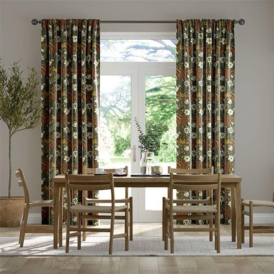 William Morris Compton Velvet Sienna Curtains