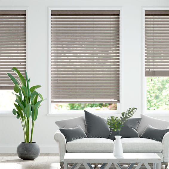 Cosmopolitan Tranquil Grey Wooden Blind - 50mm Slat