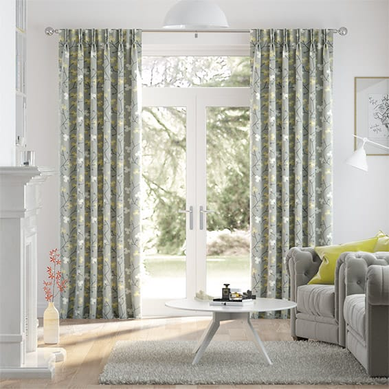 Country Blossom Linen Ashen Gold Curtains