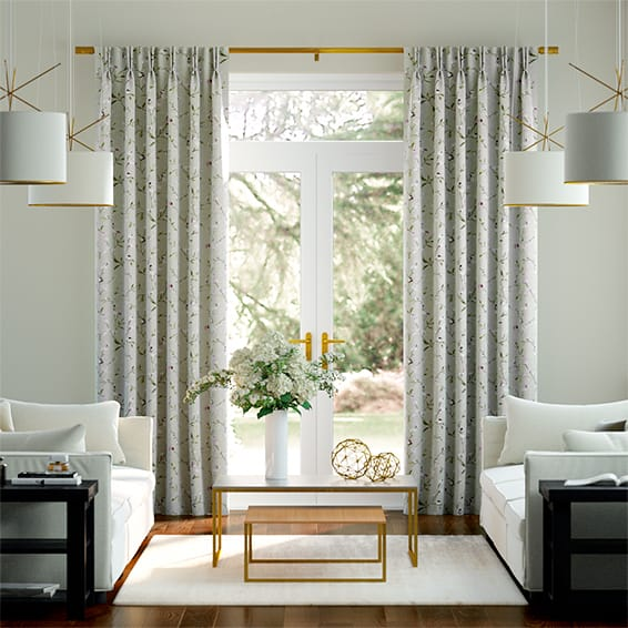 Country Flower Embroidered Plum Curtains
