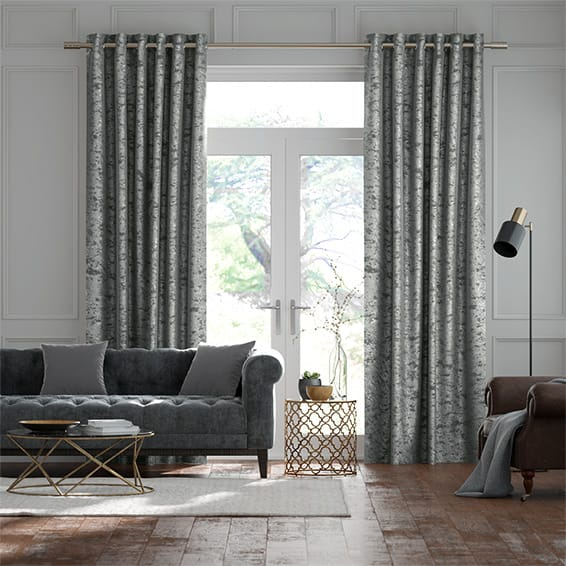 Crushed Velvet Chrome Curtains