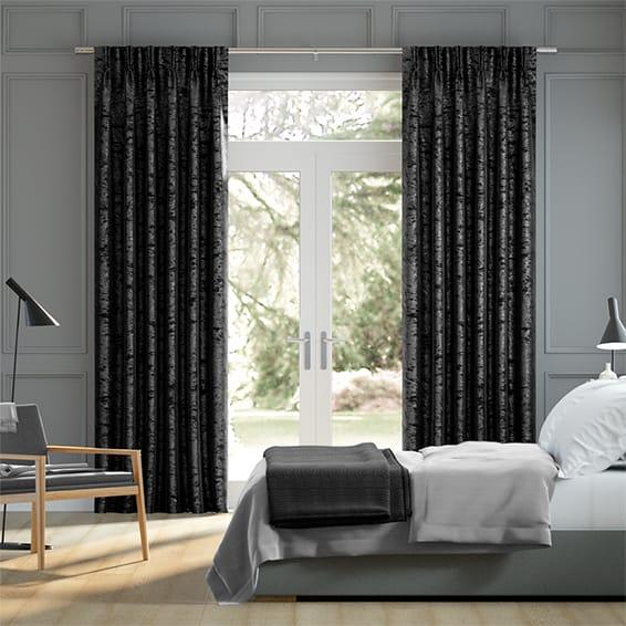 Crushed Velvet Obsidian Curtains