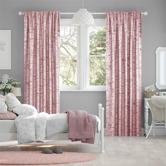 Crushed Velvet Rose Quartz Curtains