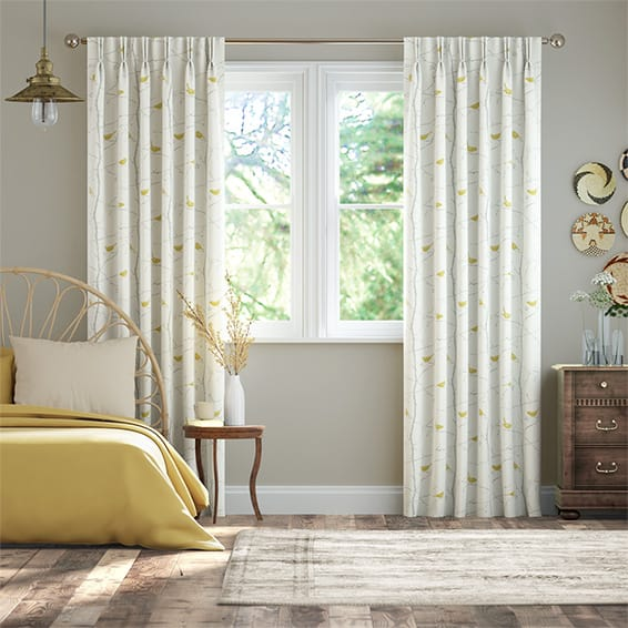 Dawn Chorus Slate Curtains
