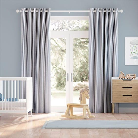 Devon Stripe Maritime Blue Curtains
