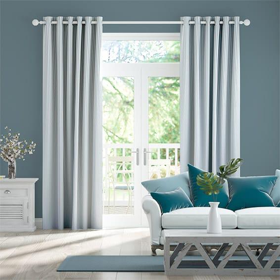 Devon Stripe Ocean Blue Curtains