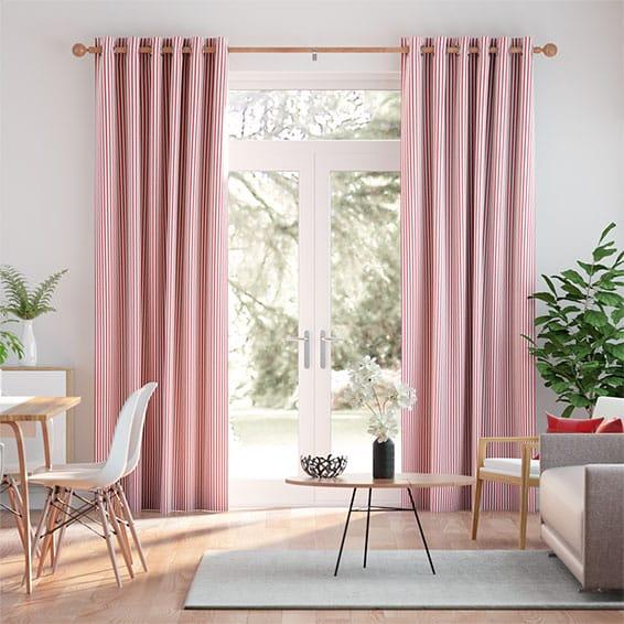 Devon Stripe Red Curtains