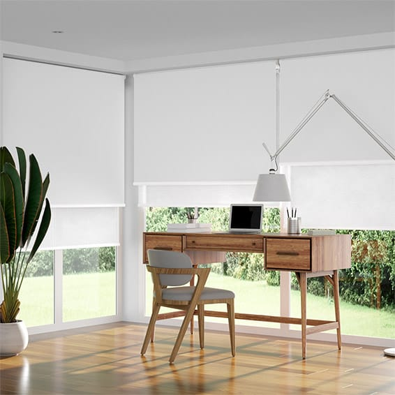Double Roller Pure White Blind