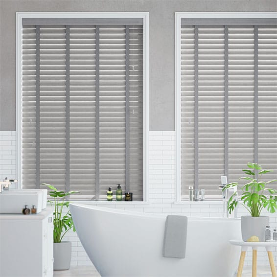 Dover Grey & Grey Faux Wood Blind - 50mm Slat