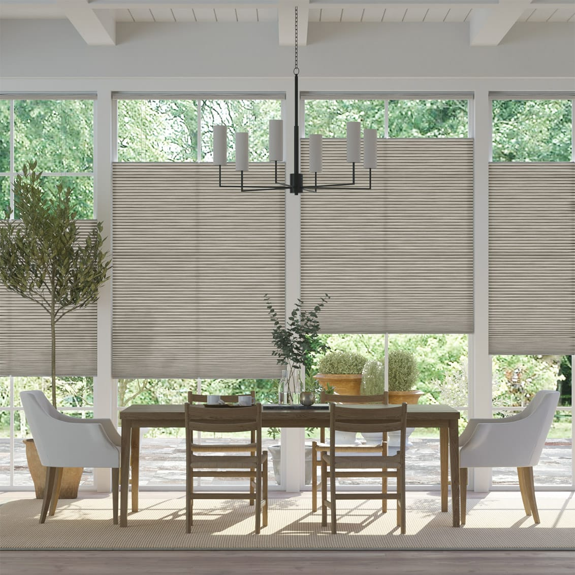 DuoLight Grain Fossil Grey Top Down Bottom Up Thermal Blind