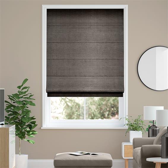 Dupioni Faux Silk Shimmering Grey Roman Blind