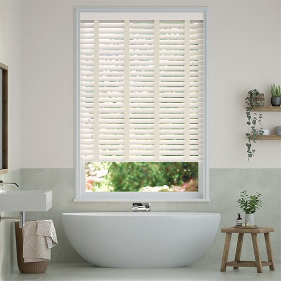 Eggshell & Ivory Faux Wood Blind - 50mm Slat