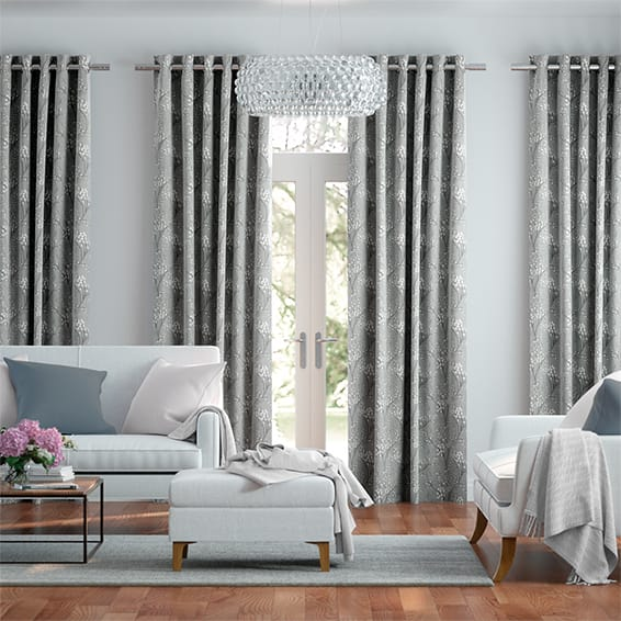 Emilia Embroidered Grey Curtains