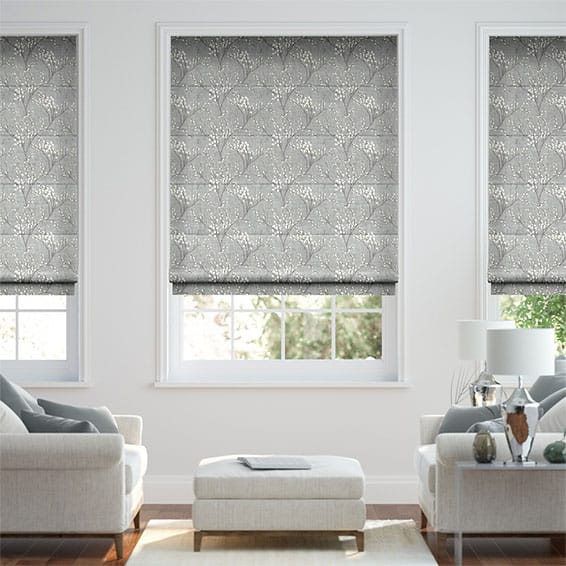 Emilia Embroidered Grey Roman Blind