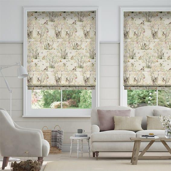 Enchanted Forest Linen Roman Blind