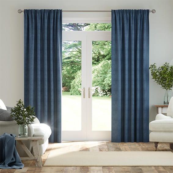 Eternity Linen Whale Blue Curtains