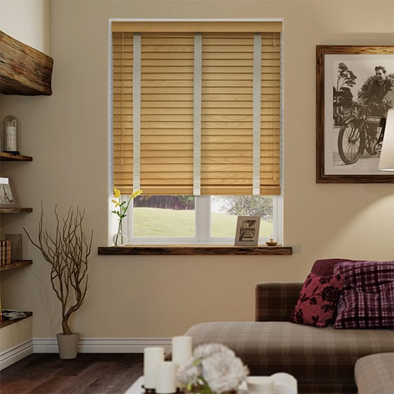 European Oak & Oyster Wooden Blind with Tapes - 50mm Slat