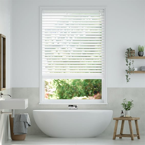 Express Classics Simply White Faux Wood Blind - 50mm Slat