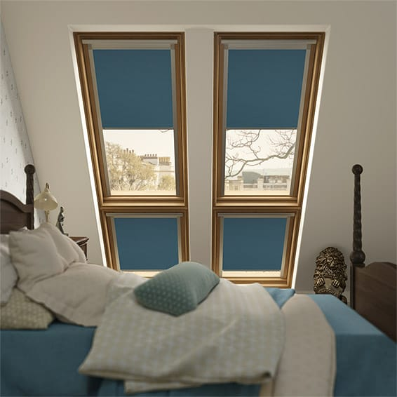 Expressions Electric Blue Blackout Blind for Dakstra/Rooflite Windows