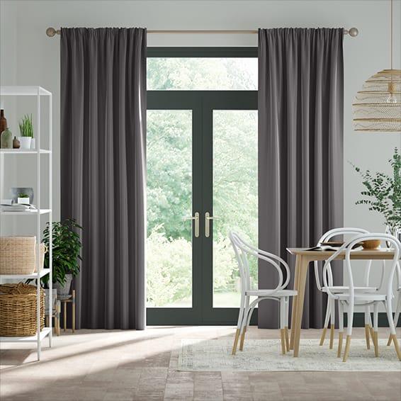 Fine Velvet Smoke Grey Curtains