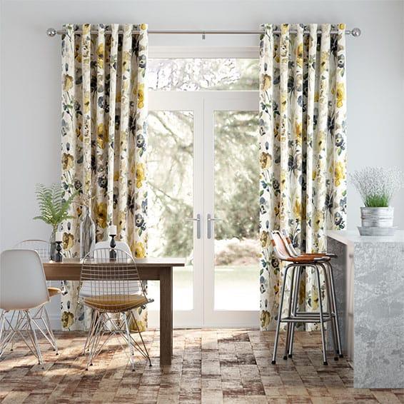 Fiori Linen Daffodil Curtains