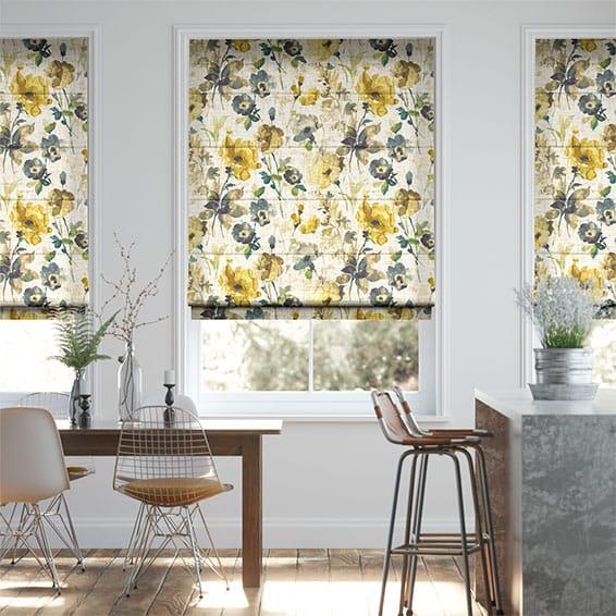Fiori Linen Daffodil Roman Blind
