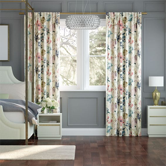 Fiori Linen Vintage Rose Curtains