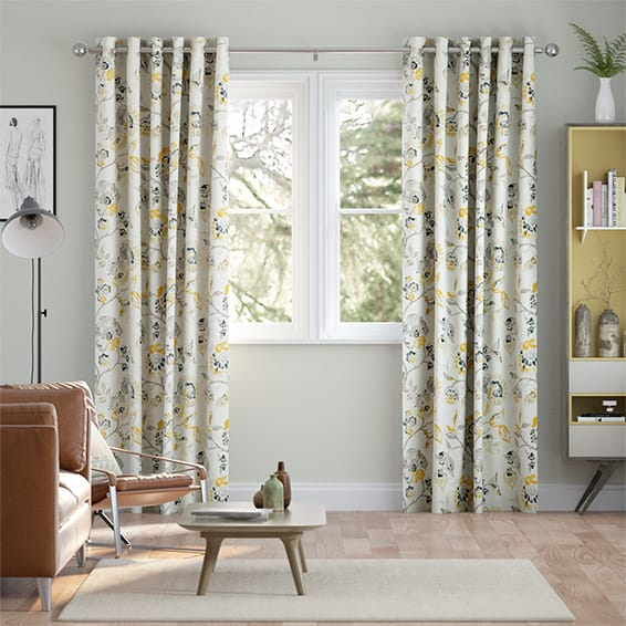Floral Ink Linen Graphite Curtains