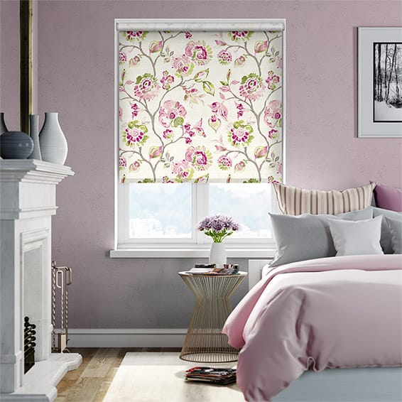 Choices Floral Ink Linen Pink Roller Blind