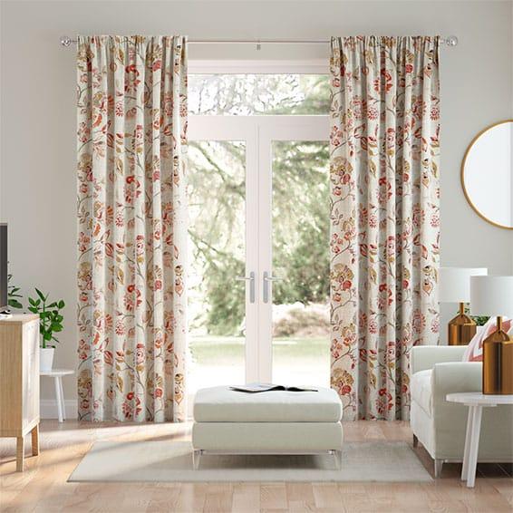 Floral Ink Linen Vintage Rose Curtains