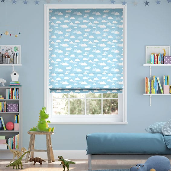 Fluffy Clouds Blue Roman Blind