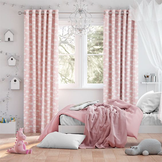 Fluffy Clouds Pink Curtains
