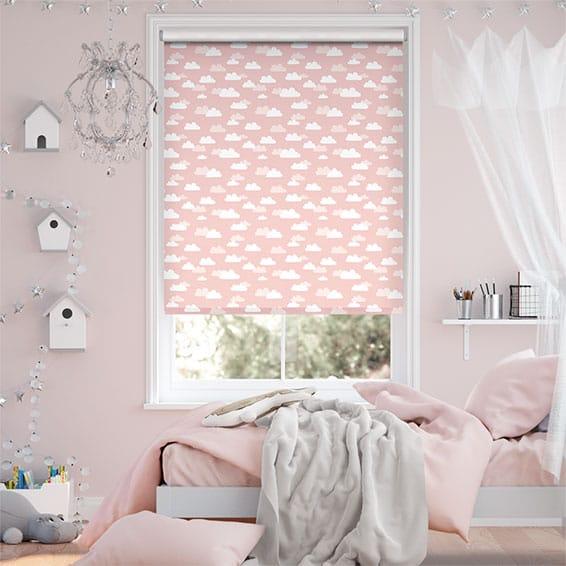 Fluffy Clouds Blackout Pink Roller Blind
