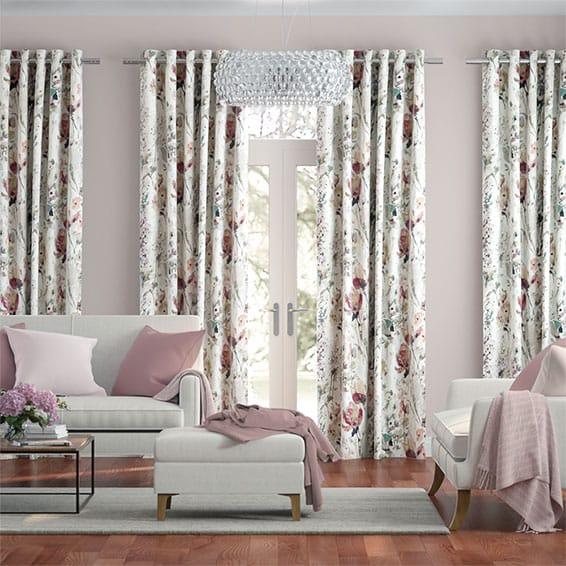 Foxglove Linen Rose Blush Curtains