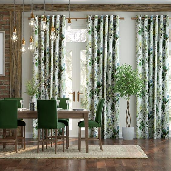 Foxglove Velvet Evergreen Curtains