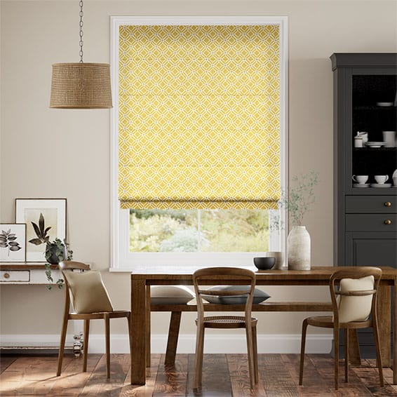 Fretwork Honey Roman Blind