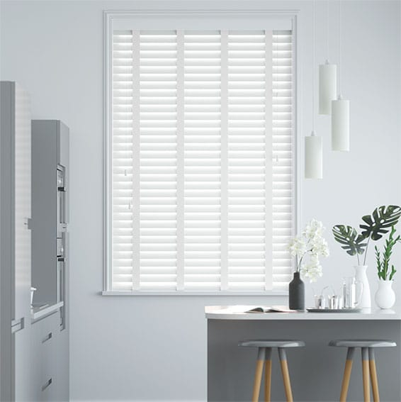 Frost White & Linen Faux Wood Blind - 50mm Slat