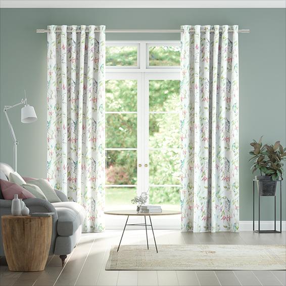 Fuchsia Flight Cream Curtains