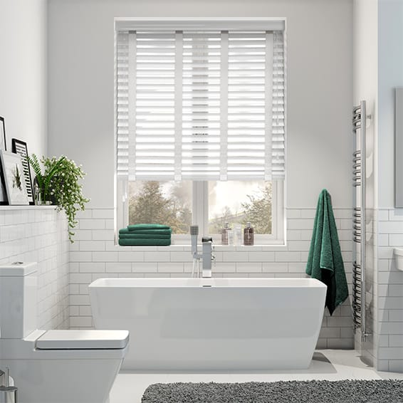 Gloss Ultra White & Linen Wooden Blind - 50mm Slat