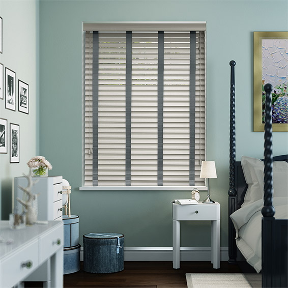 Grey Goose & Anthracite Faux Wood Blind - 50mm Slat