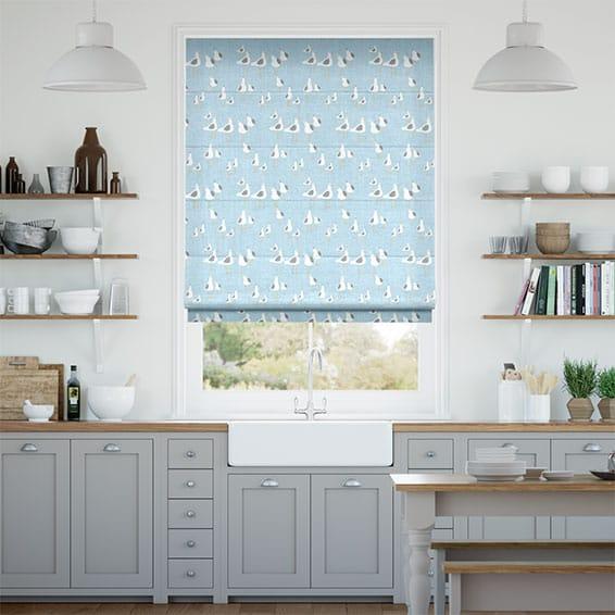 Gulls Blue Haze Roman Blind