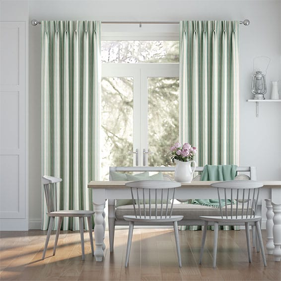 Hand Painted Stripe Duck Egg Curtains