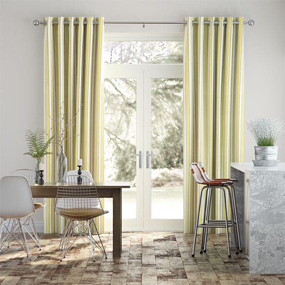 Hand Painted Stripe Ochre Curtains