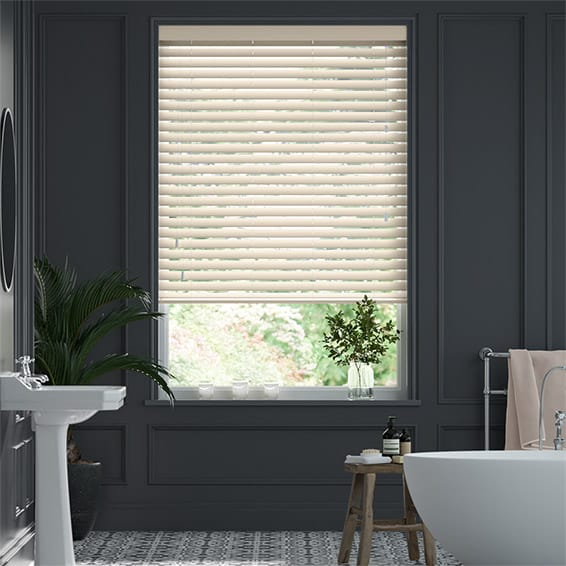 High Gloss Cream Faux Wood Blind - 50mm Slat